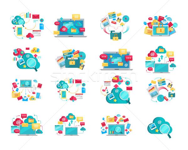 Concept Flat Design Banners Set for Digital Data Stock photo © robuart