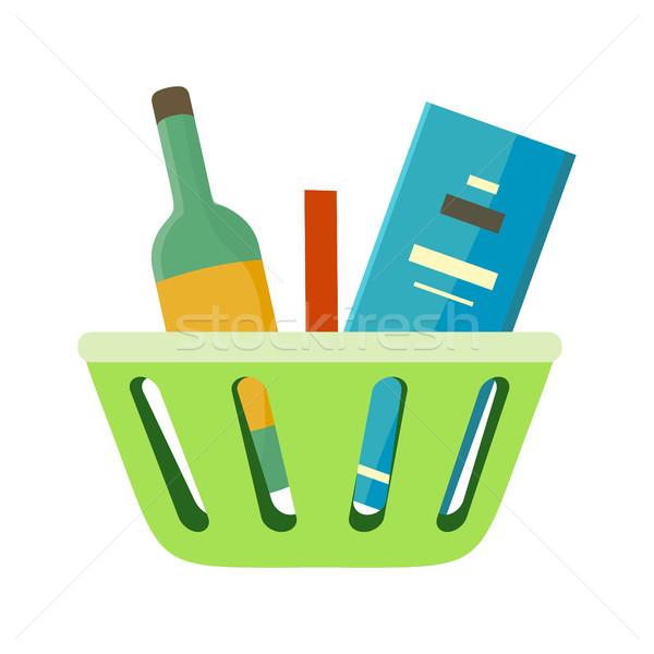Carrinho de compras bens vetor estilo verde plástico Foto stock © robuart