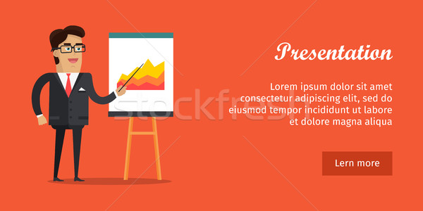 Presentation Banner. Business Man in Suit and Tie Stock photo © robuart
