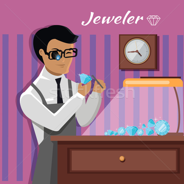 Jeweler Man Examines the Diamond. Stock photo © robuart