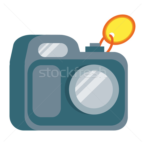 Kamera terv ikon címke hagyományos otthon Stock fotó © robuart
