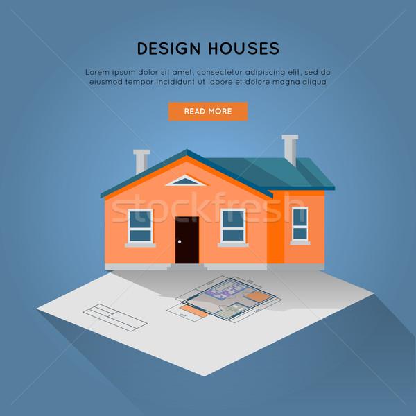 Stok fotoğraf: Dizayn · evler · web · afiş · vektör · satın · alma
