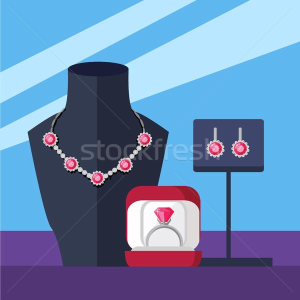 Gioielli set collana anello orecchini isolato Foto d'archivio © robuart
