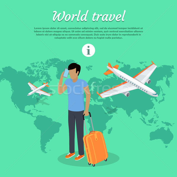 World Travel Concept Web Banner. Man with Baggage Stock photo © robuart