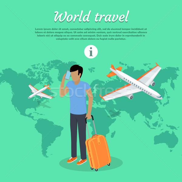 веб баннер человека багаж телефон Сток-фото © robuart