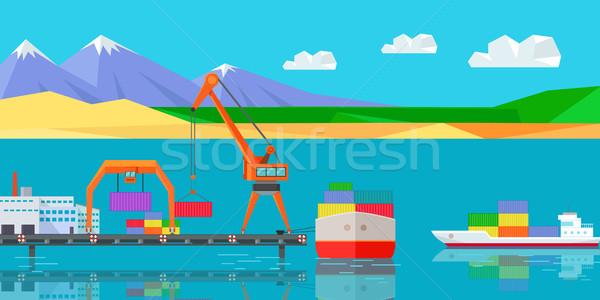 Logistiek vervoer vrachtschip vracht container werken Stockfoto © robuart