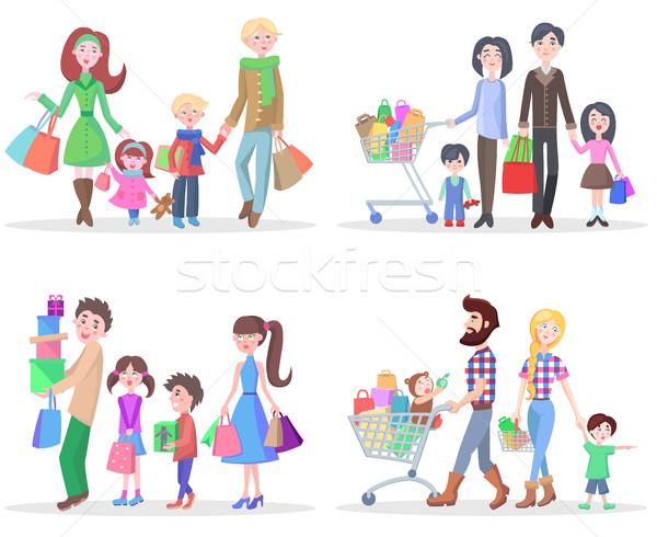 Stock fotó: Boldog · család · vásárol · áru · ajándékok · üzletek · szett