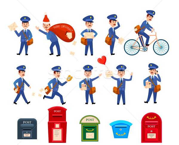 набор иконки почтальон почты коробки Сток-фото © robuart