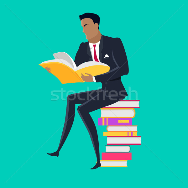Reading Books Concept Vector in Flat Design. Stock photo © robuart