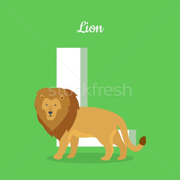 Animais alfabeto carta marrom leão aprendizagem Foto stock © robuart