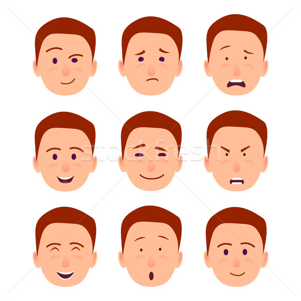 Young Cartoon Character Emotions Illustrations Set Stock photo © robuart
