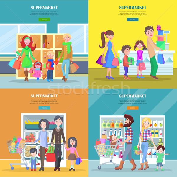 Gelukkig gezinnen winkelen groot supermarkt web Stockfoto © robuart