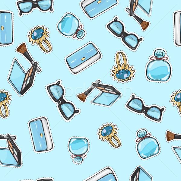 Set of Accessories. Purse. Ring. Eyeshadows. Brush Stock photo © robuart