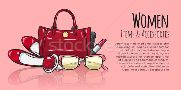 Women Items and Accessories. Red Female Objects Stock photo © robuart