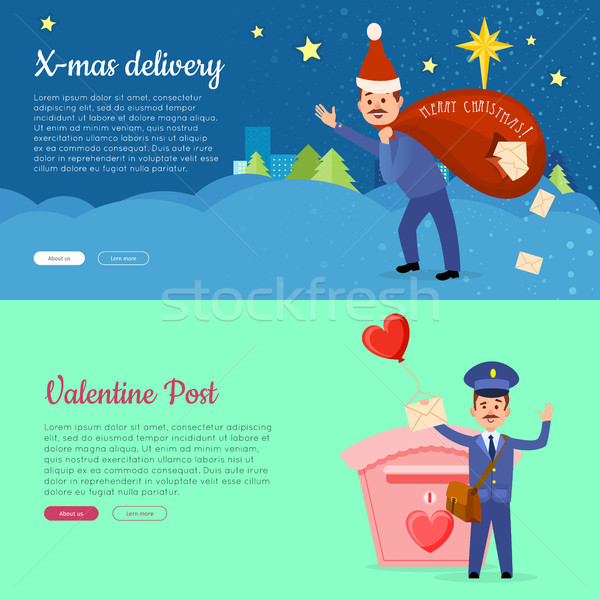 рождество доставки Валентин пост баннер почтальон Сток-фото © robuart