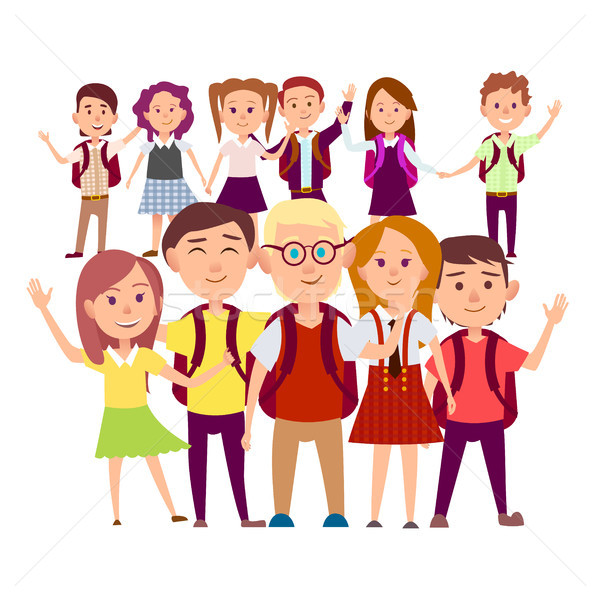 Joint Snapshot of Classmates 11 Pupils on White Stock photo © robuart