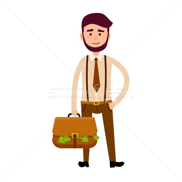 Bisnessman with Bag Full of Money Illustration Stock photo © robuart