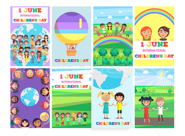 1 June Holiday Template with Colorful Posters Set Stock photo © robuart