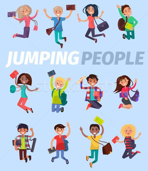 Springen mensen twaalf gelukkig studenten ontwerp Stockfoto © robuart