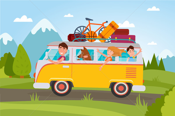 Family That Goes on Vacation at Countryside in Van Stock photo © robuart