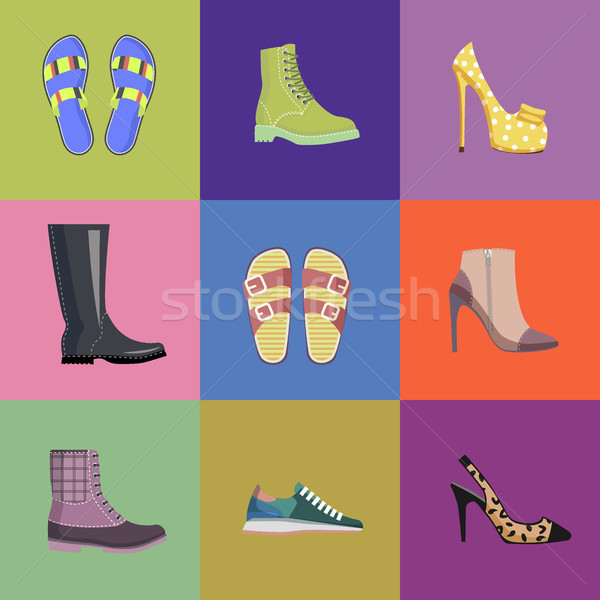 Set of Women Footwear Summer and Autumn Nine Icons Stock photo © robuart
