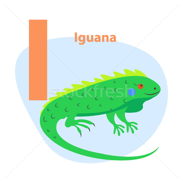 Сток-фото: зоопарке · письме · Cute · игуана · Cartoon · вектора
