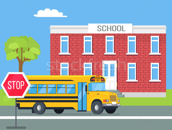 Bus Standing in Front of Brick School Illustration Stock photo © robuart