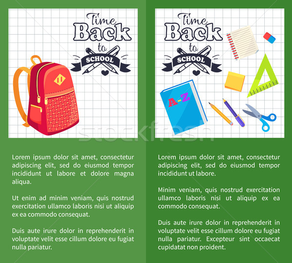 Time Back to School Posters Rucksack on Leaflet Stock photo © robuart