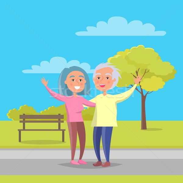 Boldog nagyszülők nap idős pár séta együtt Stock fotó © robuart