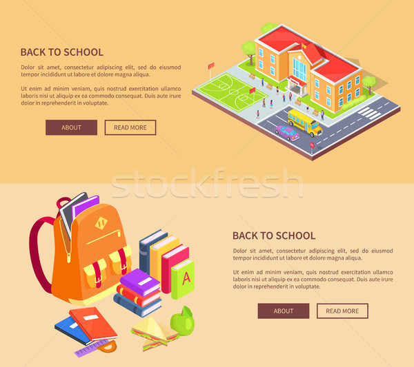 Back to School Posters with Building and Supplies Stock photo © robuart