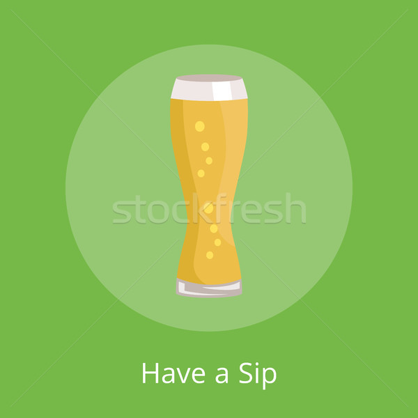 Have a Sip Text Under Weizen Glass of Beer Icon Stock photo © robuart