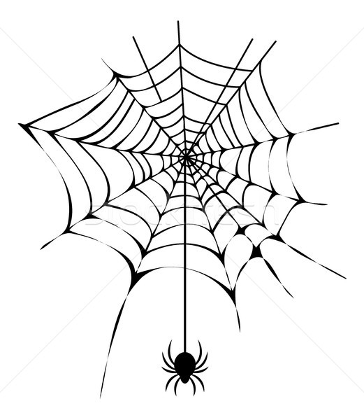 Black Thin Web with Spider Isolated Illustration Stock photo © robuart
