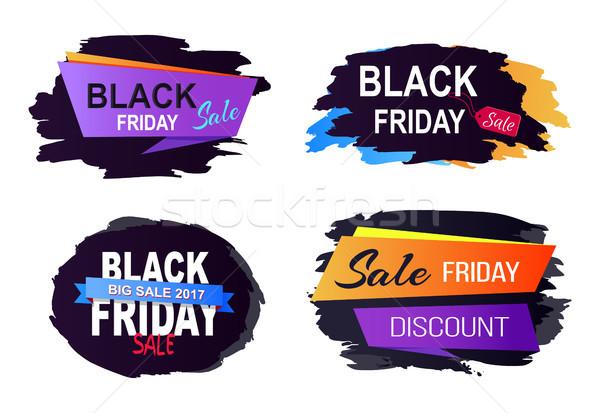 черная пятница продажи набор большой Этикетки Сток-фото © robuart