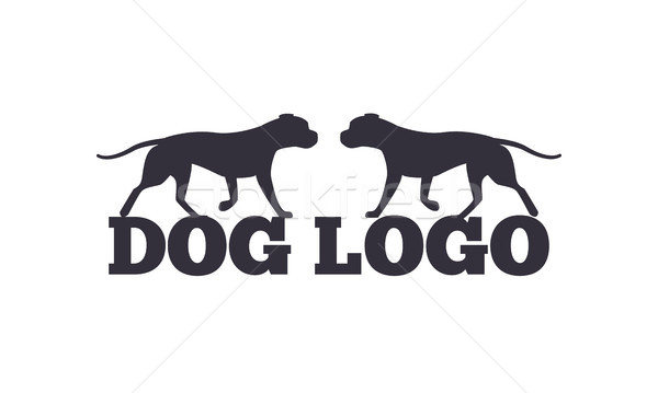 Dog Logo Design Two Canine Animals Silhouettes Stock photo © robuart