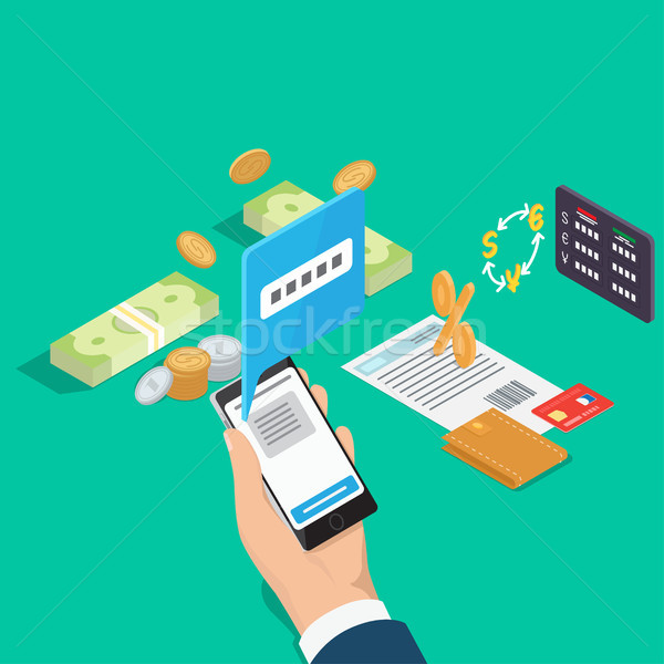 Control Banking Operations Online Isometric Vector Stock photo © robuart