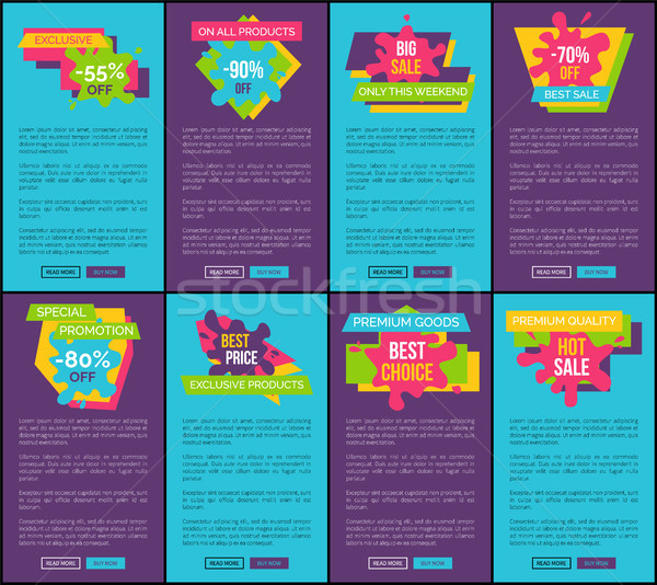 Blue and Purple Internet Posters with Sale Offer Stock photo © robuart