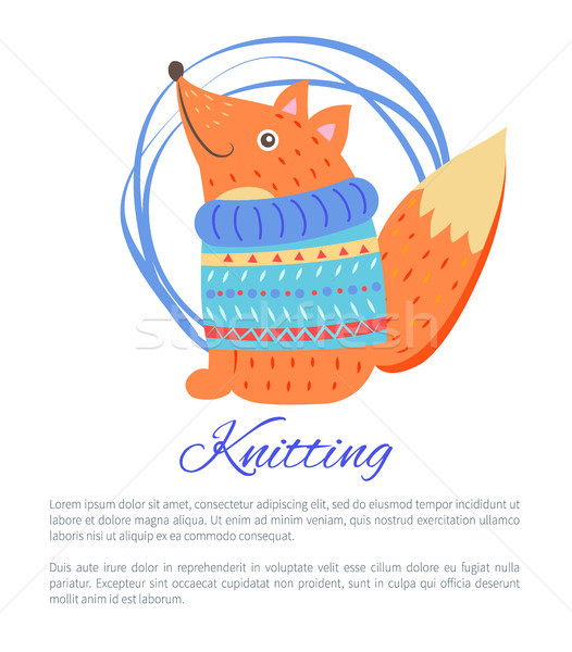 Azul suéter engraçado brinquedo raposa Foto stock © robuart