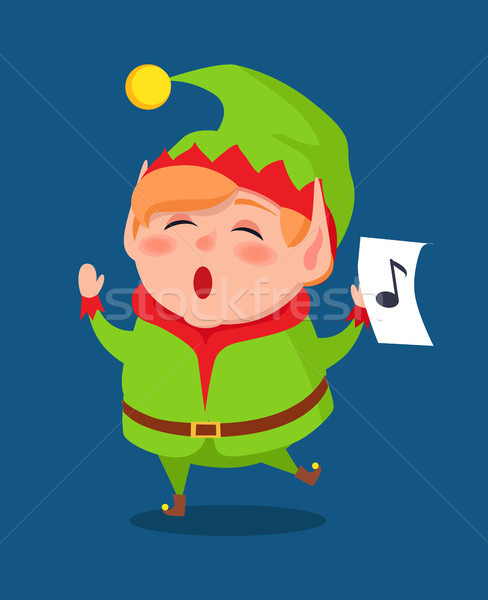 Cute Elf Singing Carol Songs, Vector Illustration Stock photo © robuart