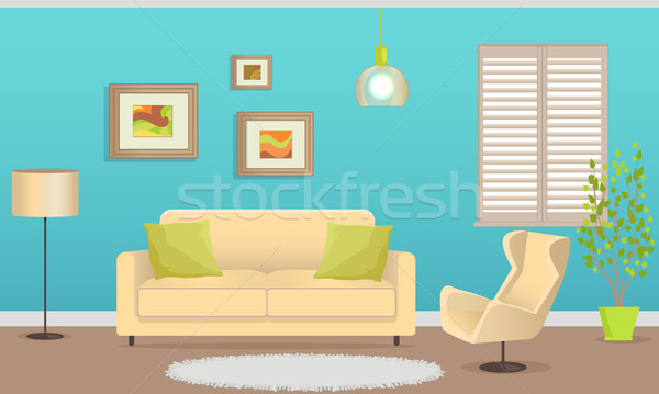 Elegáns belsőépítészet kényelmes bútor kanapé fotel Stock fotó © robuart