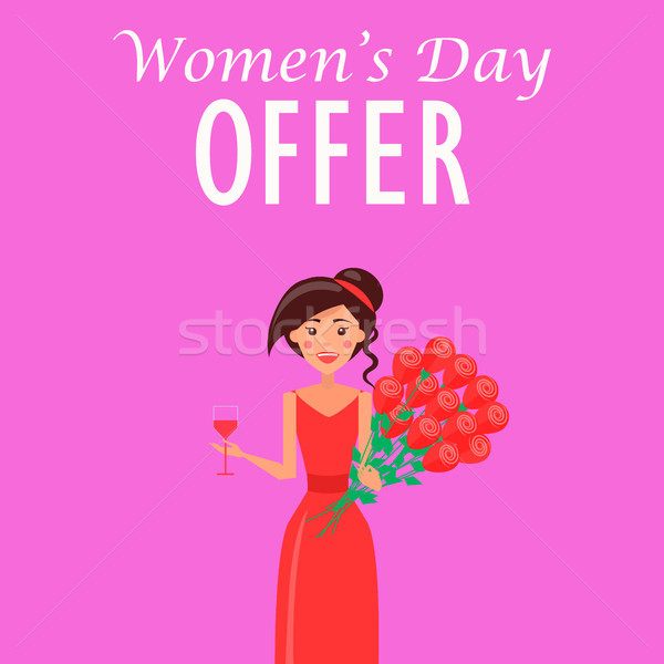 Womens Day Offer Advertisement with Woman in Dress Stock photo © robuart