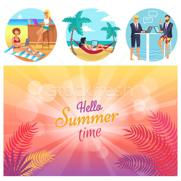 Hello Summer Time Poster Set Vector Illustration Stock photo © robuart