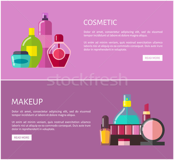 Cosmetic and Makeup Web Set Vector Illustration Stock photo © robuart