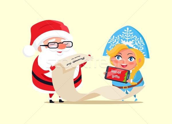 Santa and Wishlist Poster Vector Illustration Stock photo © robuart