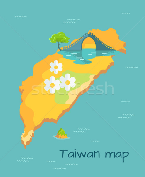 New Moon Bridge Marked on Taiwan Map Illustration Stock photo © robuart