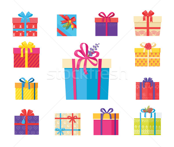 Stock photo: Boxing Packs Set, Presents Wrapped in Paper Bow