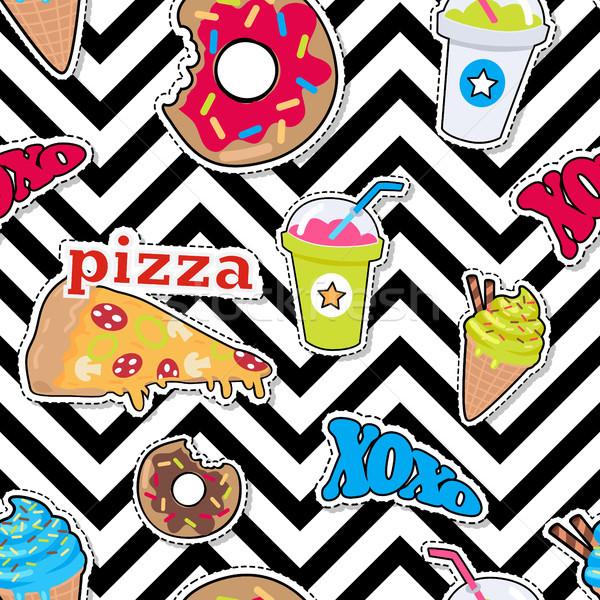 Pizza, Doughnut, Cocktail, Smoothie, Ice Ceam Xoxo Stock photo © robuart