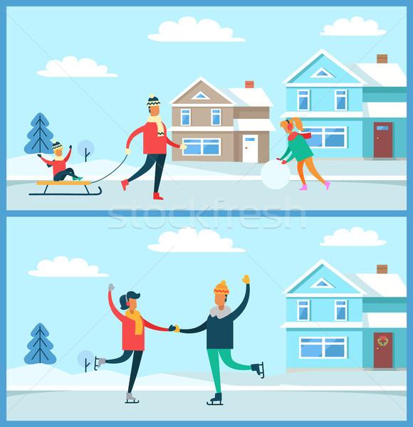Wintertime Activities Nature Vector Illustration Stock photo © robuart