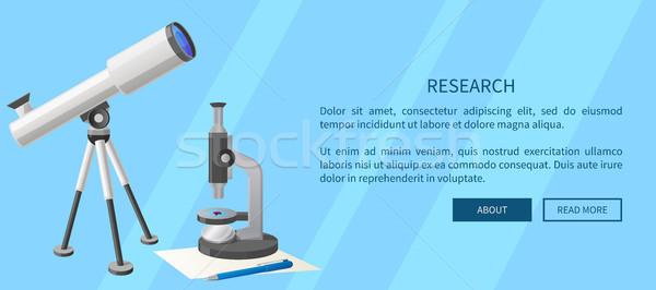 Badań internetowych banner teleskop mikroskopem nowoczesne Zdjęcia stock © robuart