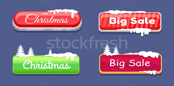 Christmas Big Sale Glossy Web Push Buttons in Snow Stock photo © robuart