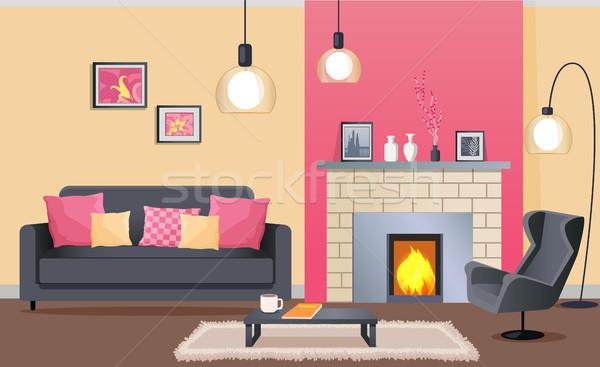 Design de interiores confortável sala de estar lareira tijolo couro Foto stock © robuart